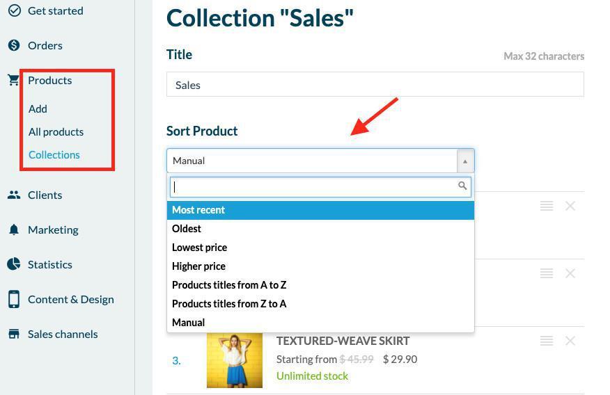 Cambia el orden de clasificación de una colección