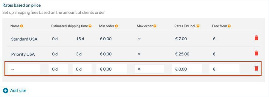 Define las tarifas de envío