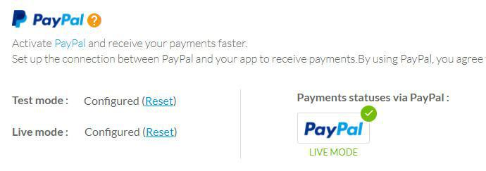 Configuración de Paypal