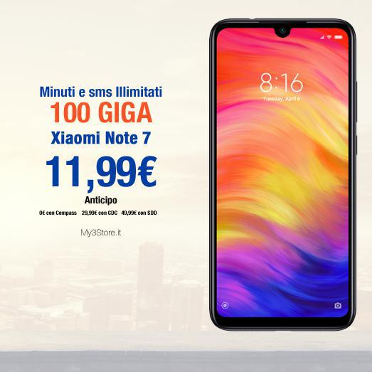 Minuti e SMS illimitati, 100Gb, Xiaomi Note 7 a 11,99€