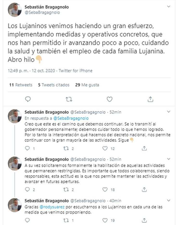 Bragagnolo agradeció a Suarez acompañar lo realizado por Luján durante la pandemia