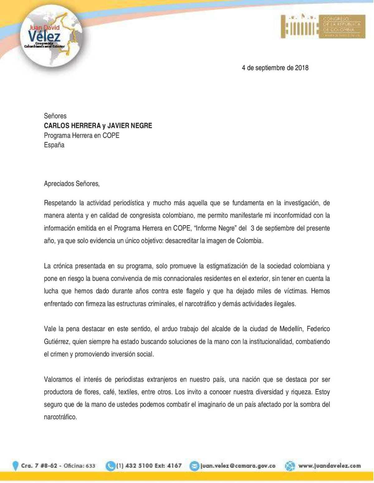 Carta de protesta de Juan David Vélez a la vergonzosa entrevista de Javier Negre