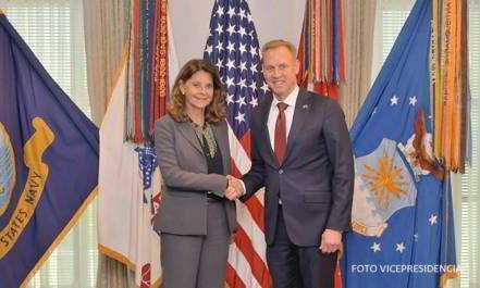 La Vicepresidente de la República, Marta Lucía Ramírez, se reunió con el Secretario (e) de Defensa de Estados Unidos, Patrick M. Shanahan