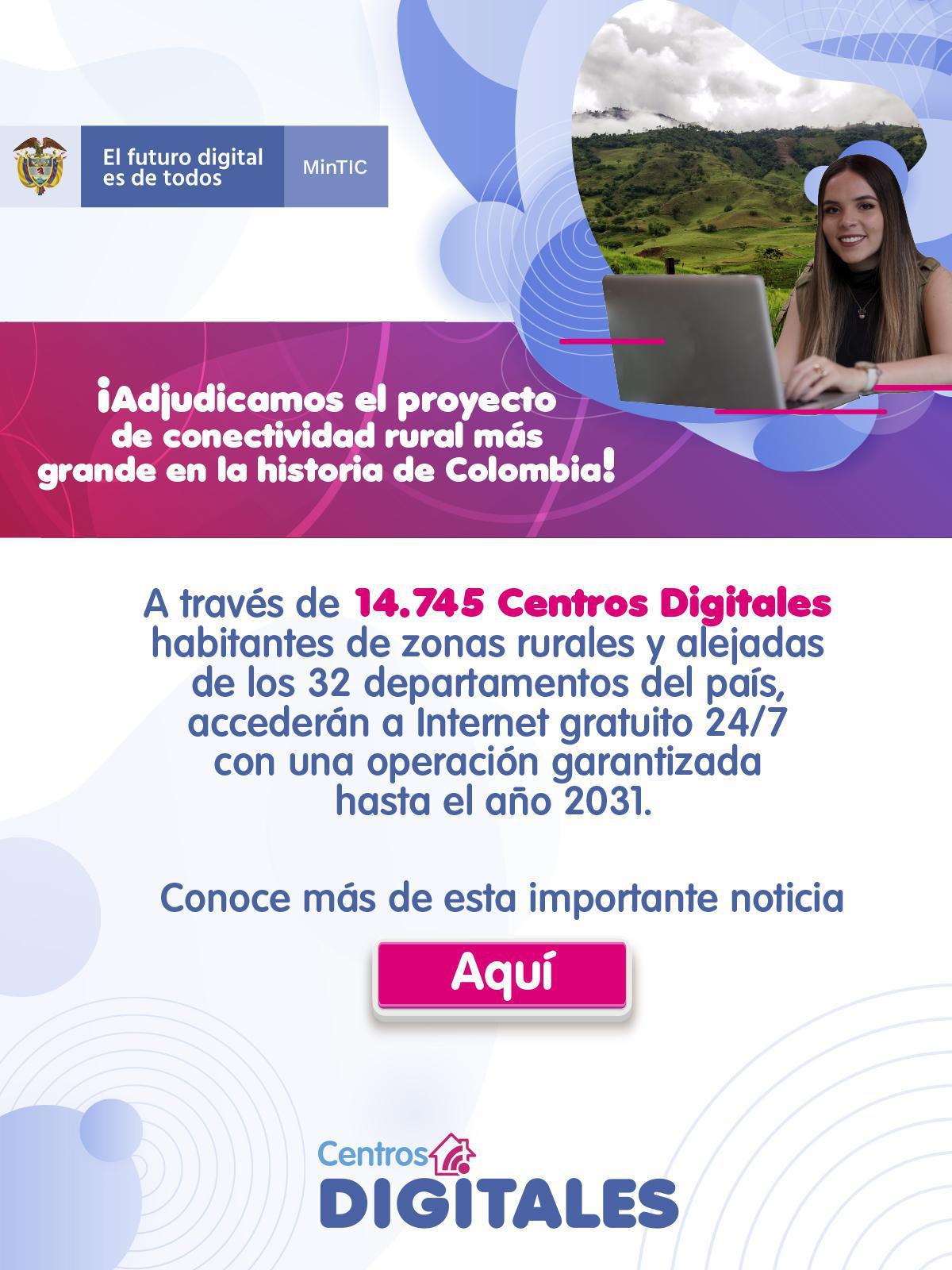 Histórico: Gobierno Duque Adjudica el proyecto de conectividad rural más grande en la historia de Colombia!