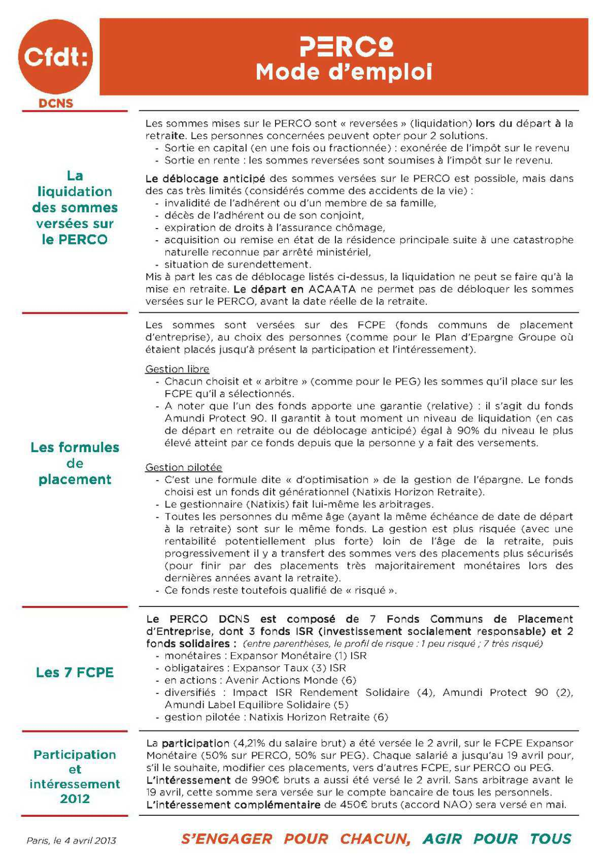Tract CFDT analyse accord PERCO