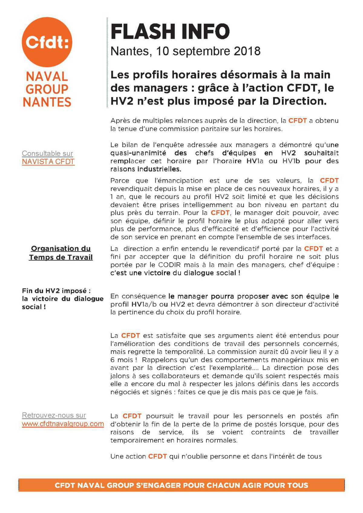 Flash info CFDT sur HV2