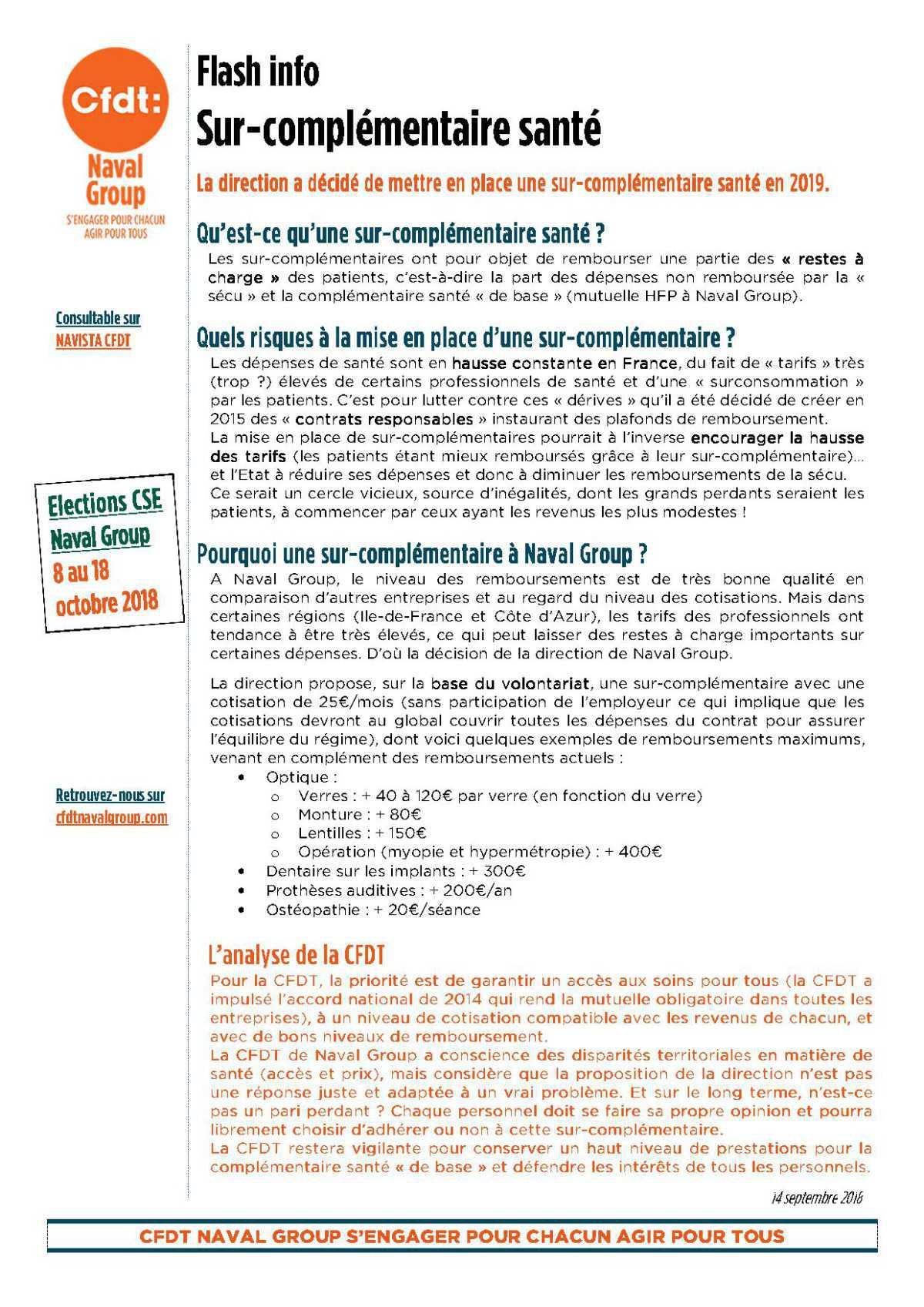 Flash Info CFDT : sur-complémentaire santé