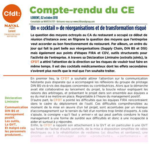 Compte-rendu du CE du 02 octobre 2018