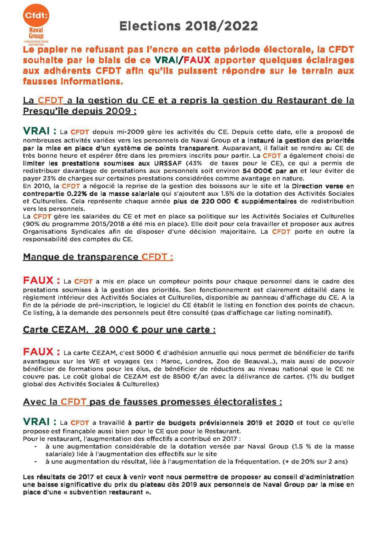 Election 2018/2022 le VRAI/FAUX