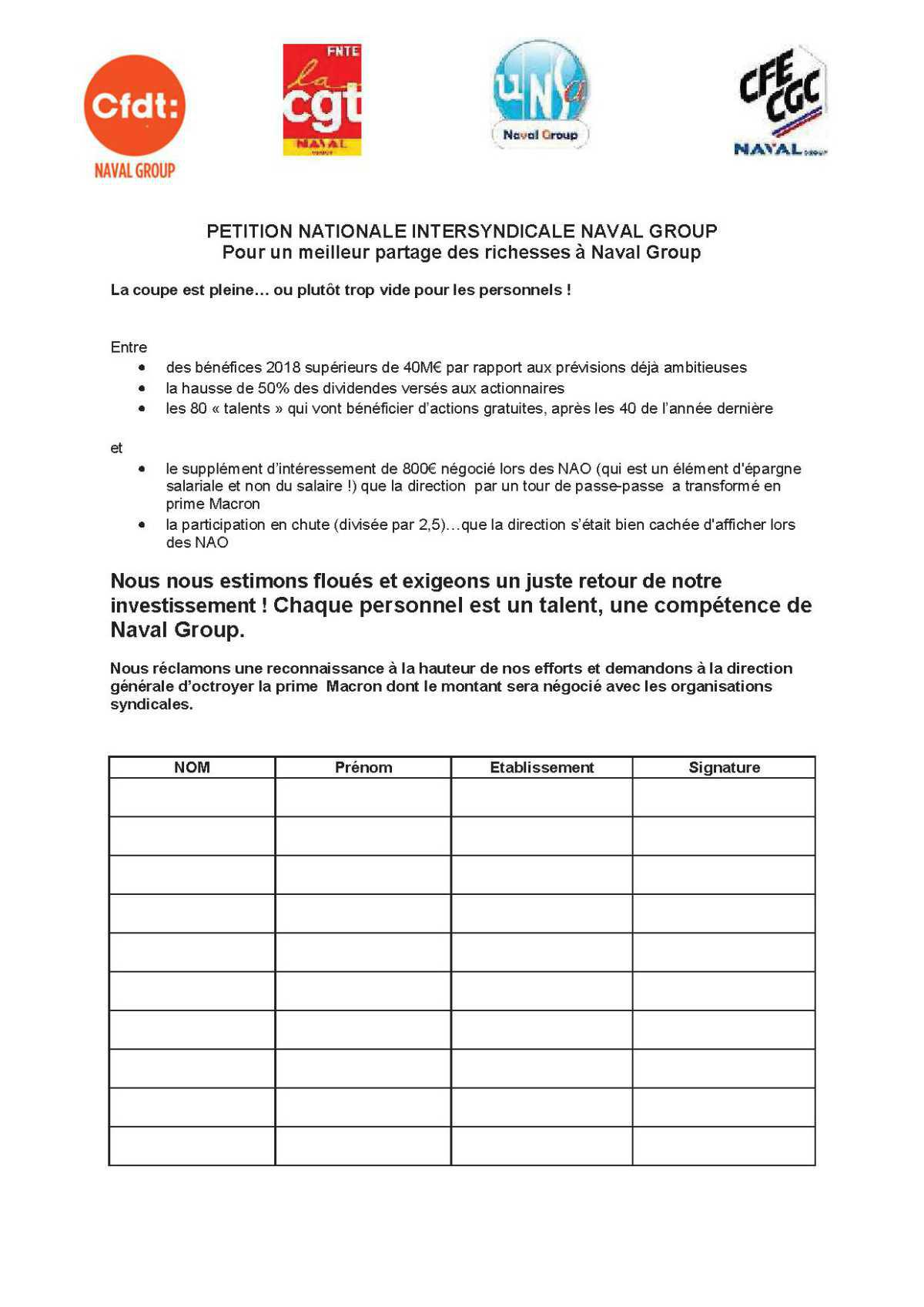PETITION NATIONALE INTERSYNDICALE NAVAL GROUP