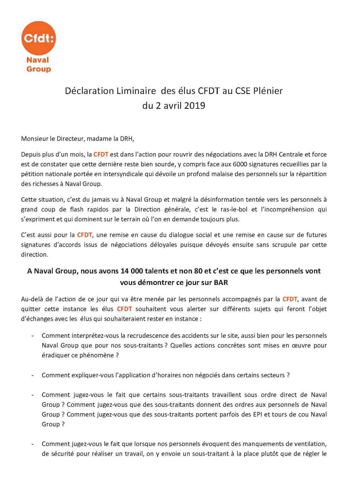 Déclaration liminaire du CSE plénier du 2 avril 2019