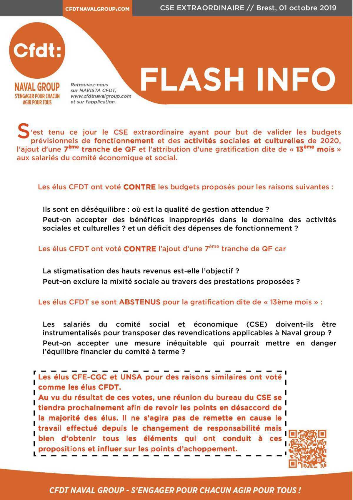 FLASH INFO CSE EXRAORDINAIRE