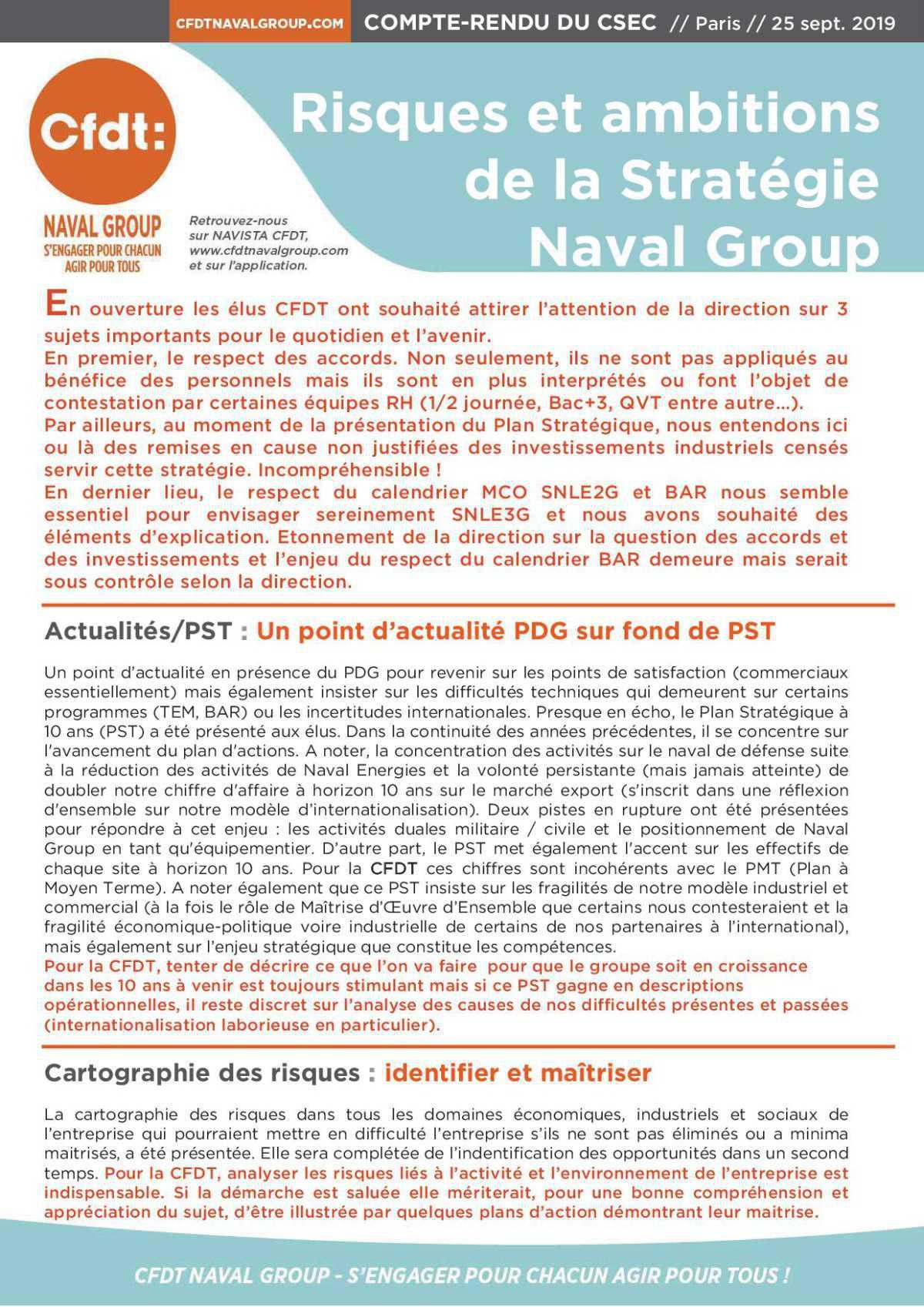 CR CSEC : Risques et ambitions de la stratégie Naval Group