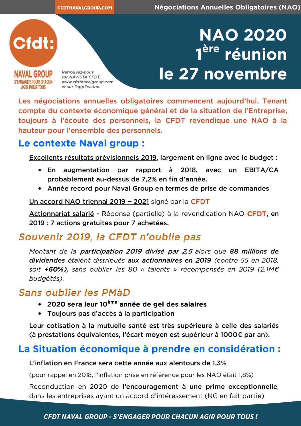 NAO 2020 - le revendicatif CFDT : 1ère réunion le 27 novembre