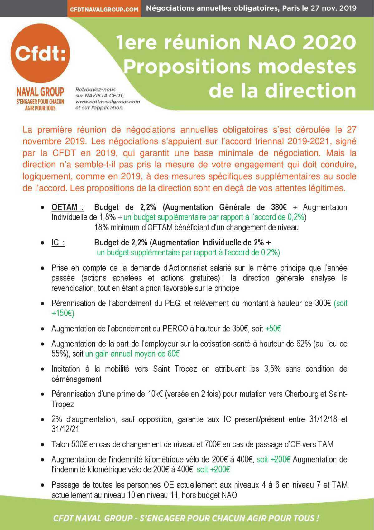 1ere réunion NAO 2020 : Propositions modestes de la Direction