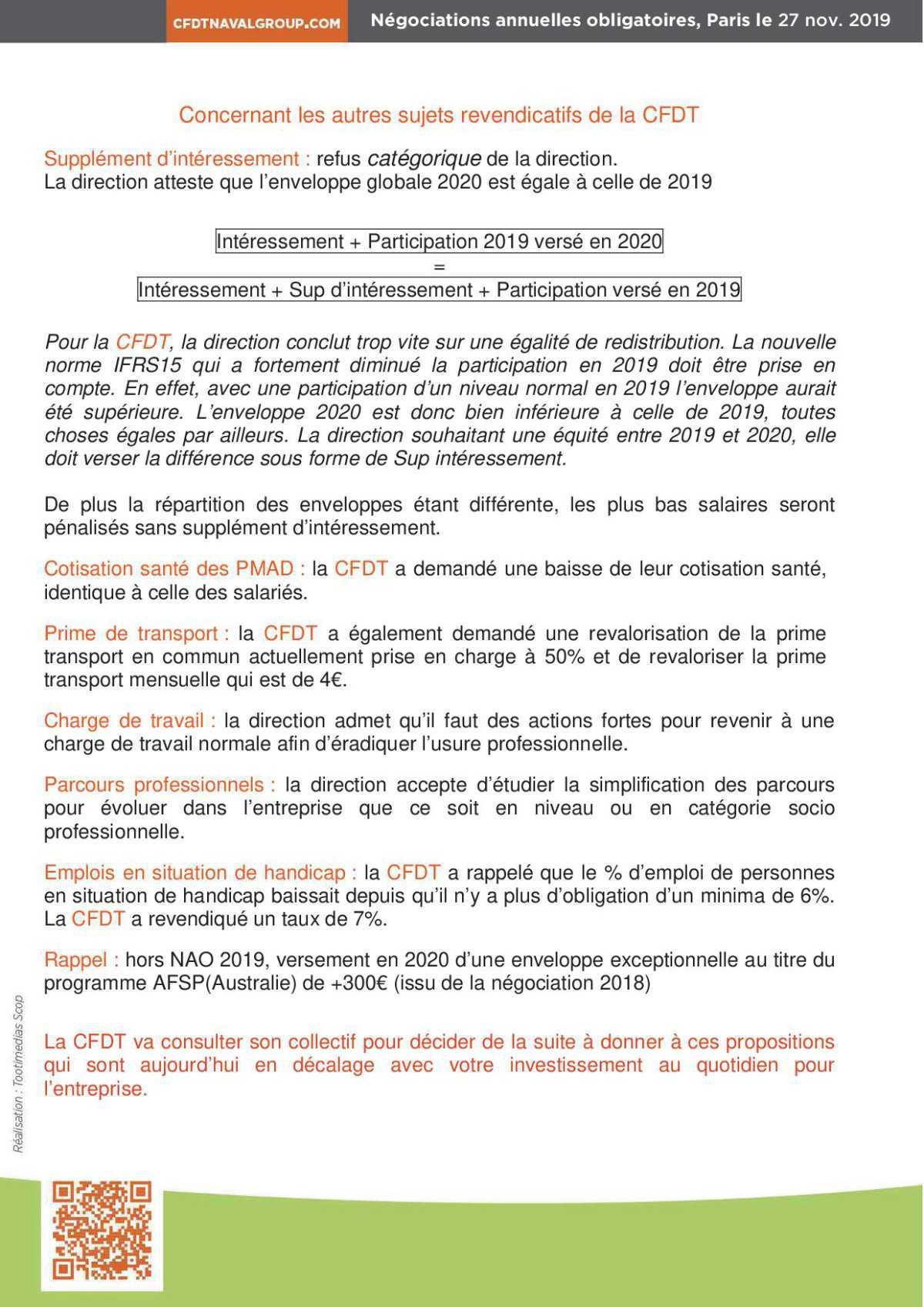 1ere réunion NAO 2020 : Propositions modestes de la Direction