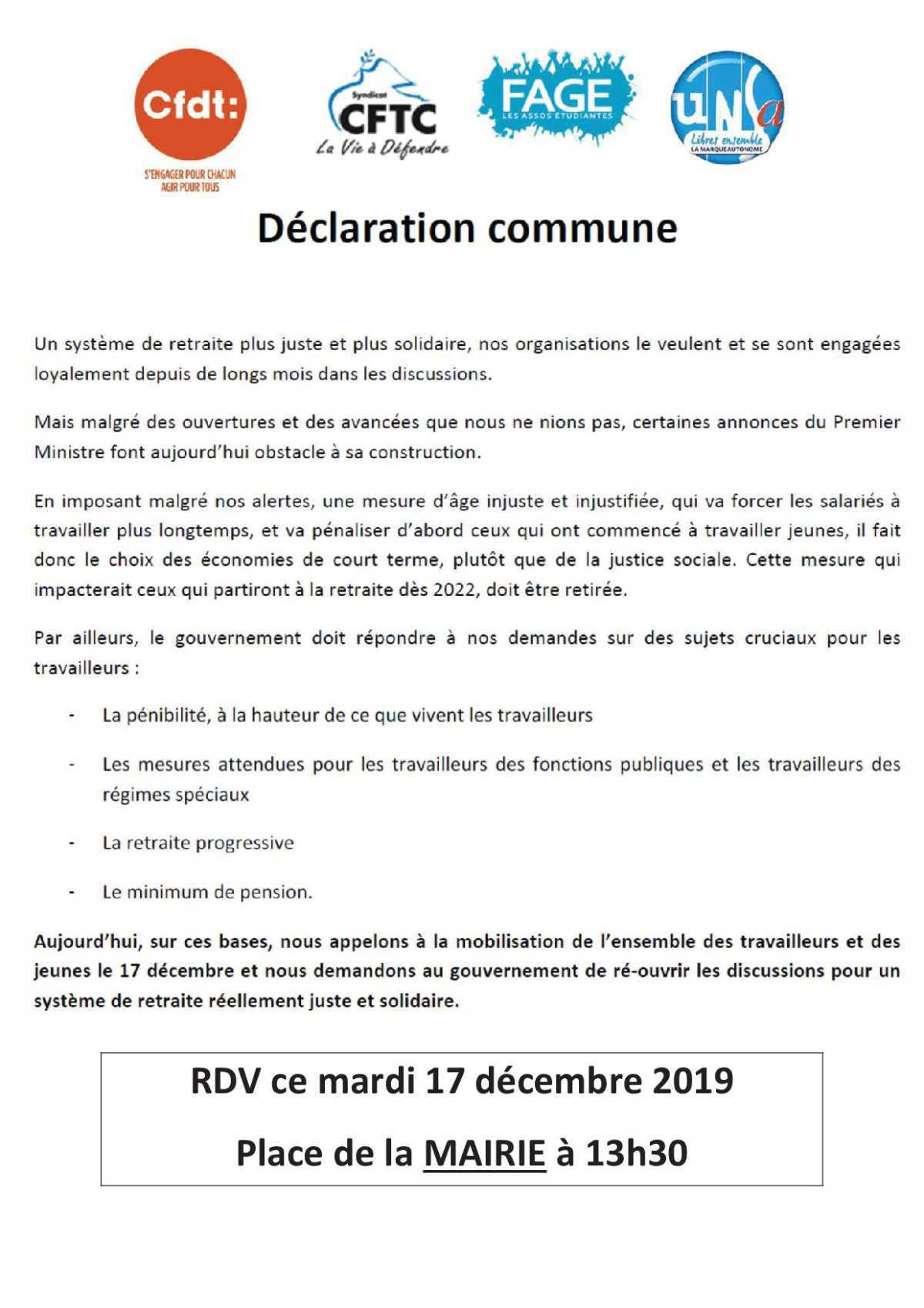 appel à la mobilisation le 17 décembre, rassemblement à la mairie de Cherbourg à 13H30