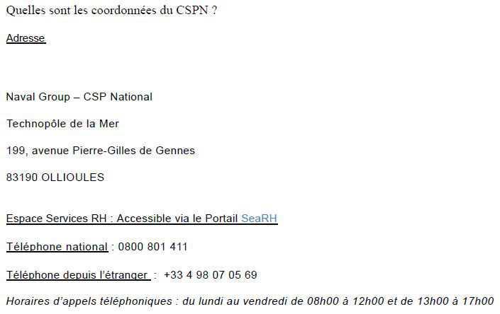 Contacter le CSPN depuis l'extérieur