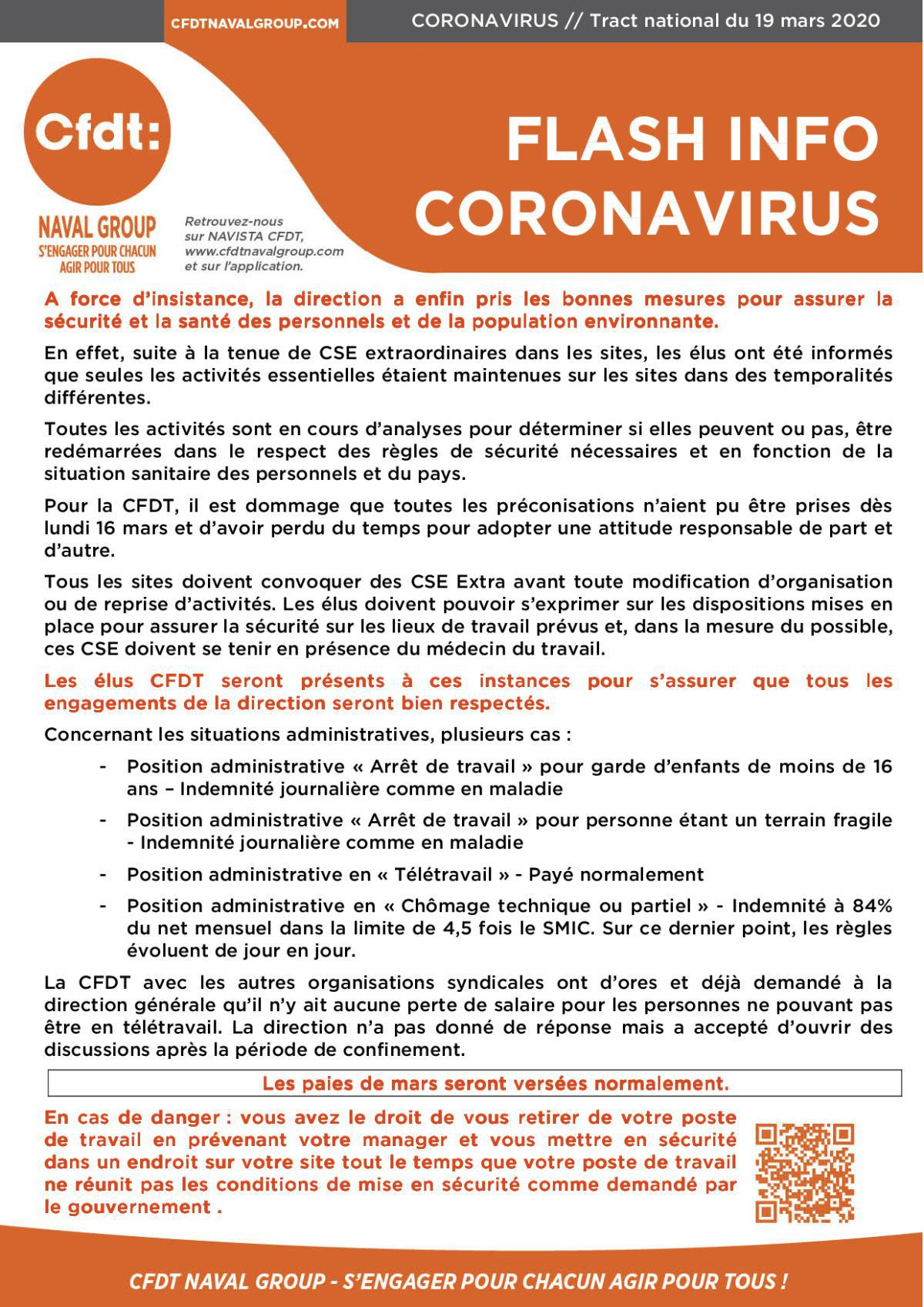 FLASH INFO CORONAVIRUS