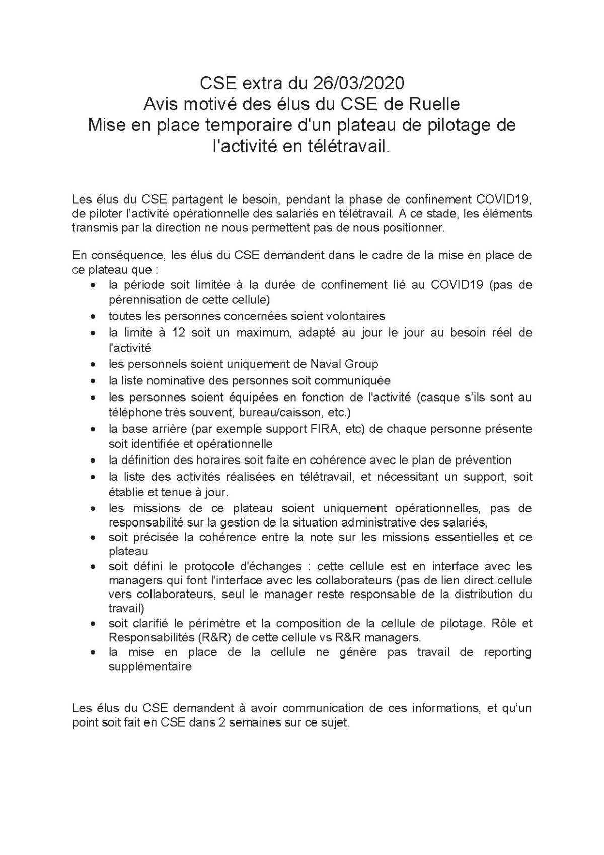 CR CSE extra de Ruelle du 26 mars 2020
