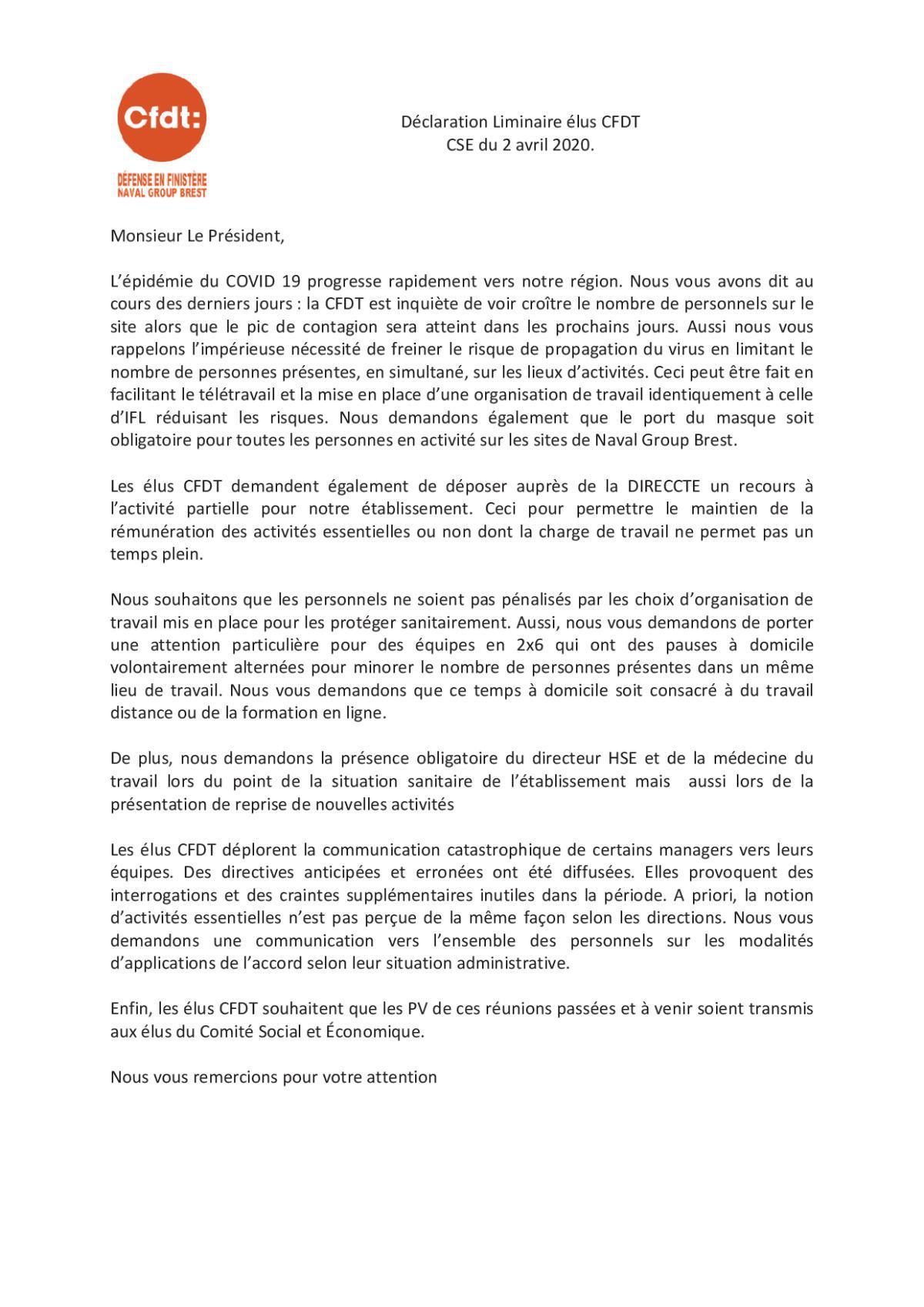 INFOS BREST DU 2 AVRIL 2020 _ DECLARATION LIMINAIRE