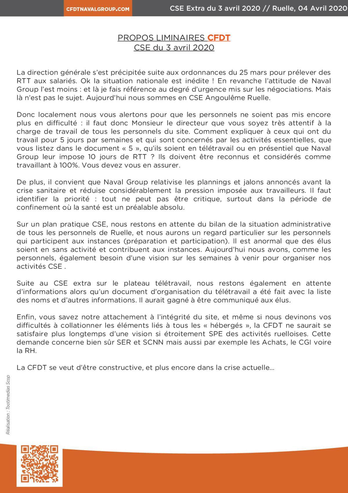 CR CSE extra de Ruelle du 03 avril 2020