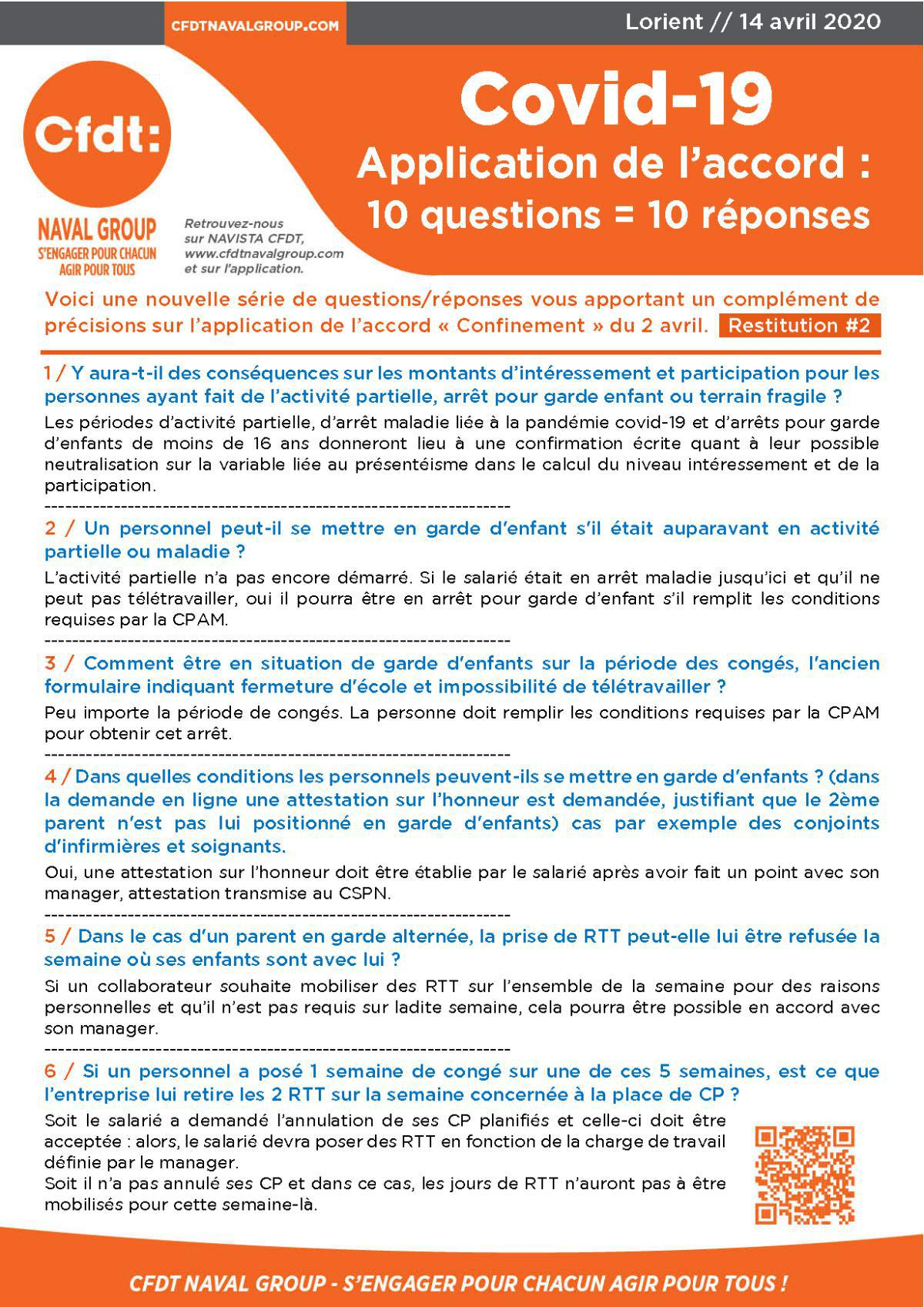 "Réponses aux questions Accord ""Confinement"" #2"