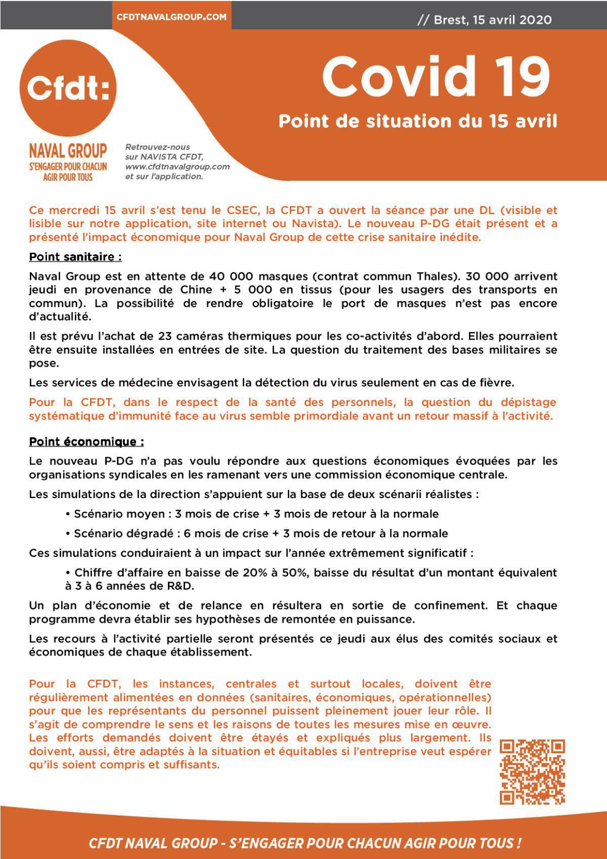 INFOS Brest du 15 Avril 2020