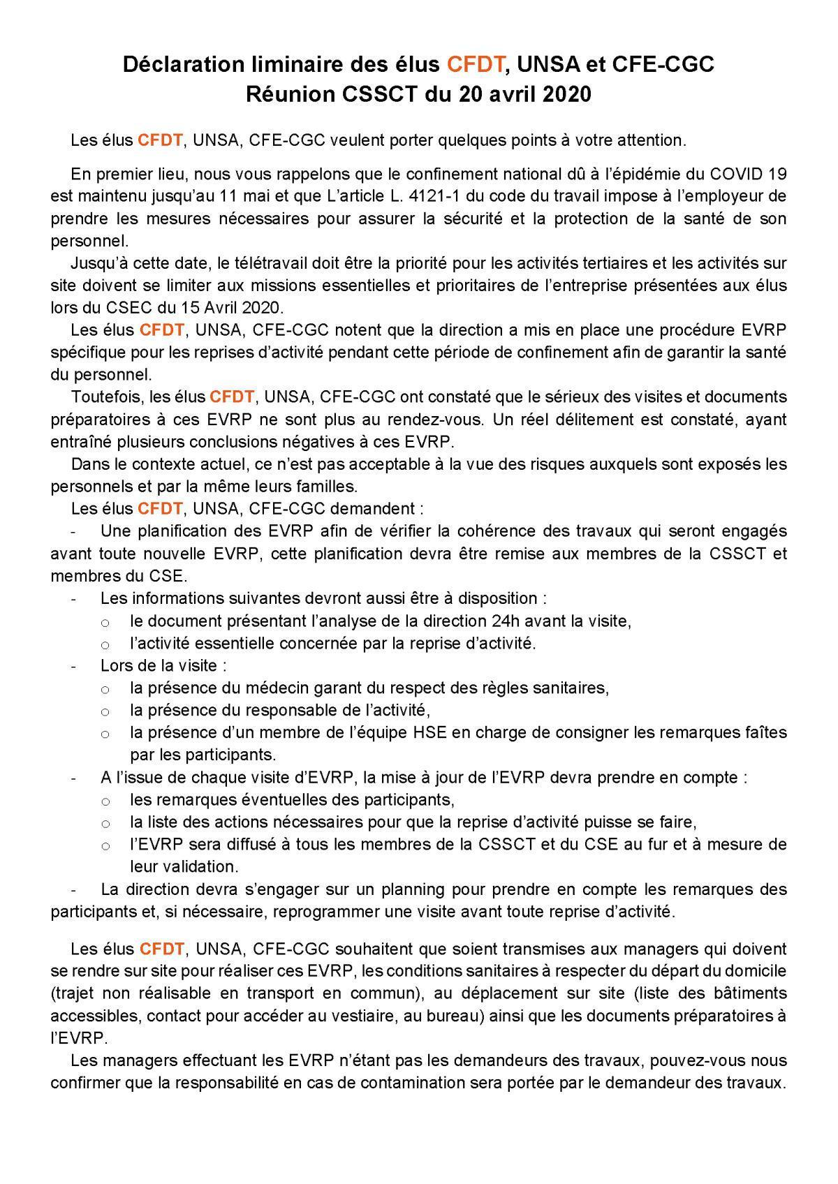 Déclaration liminaire à la CSSCT