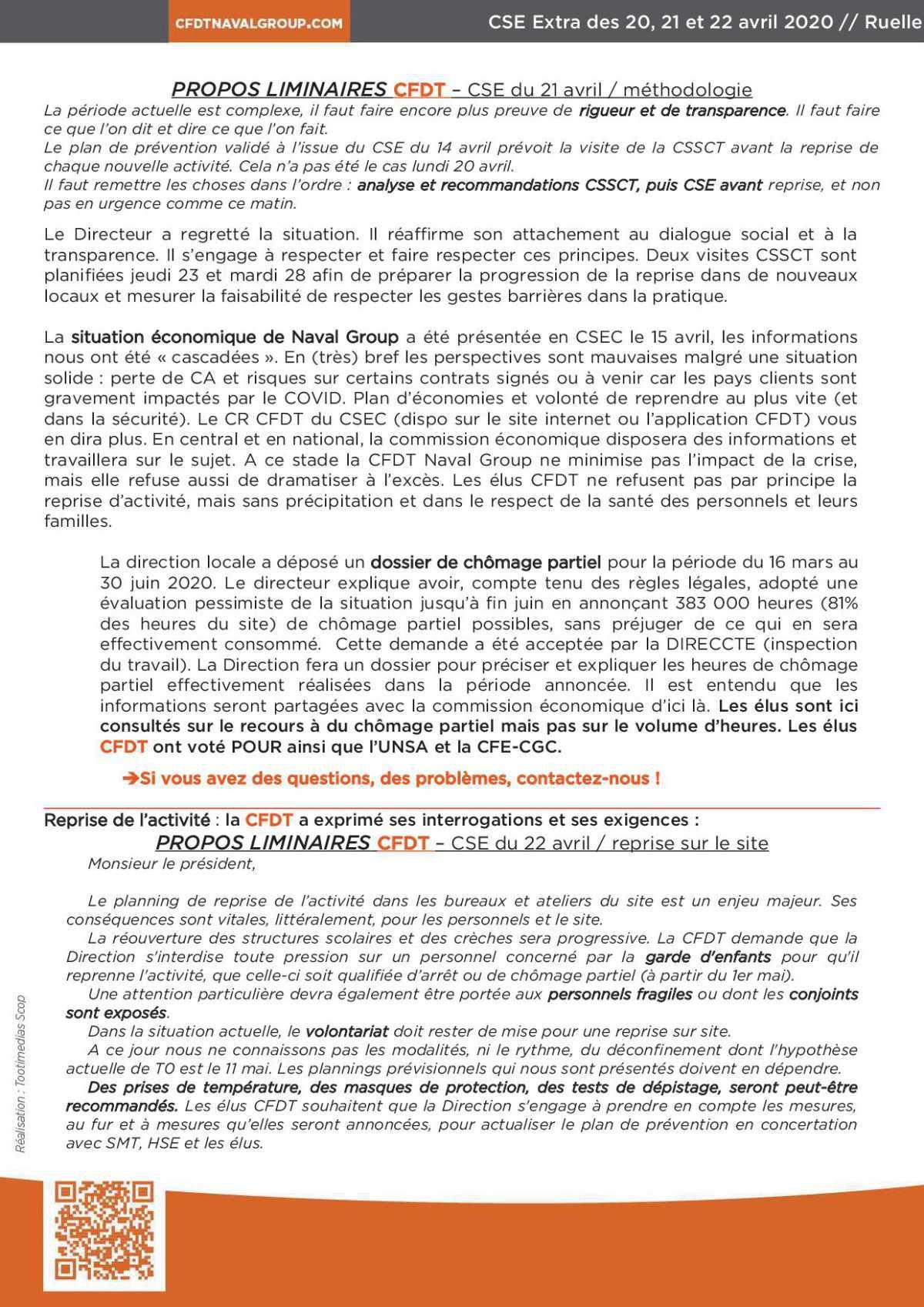 CR CSE extra de Ruelle des 20, 21 et 22 avril 2020