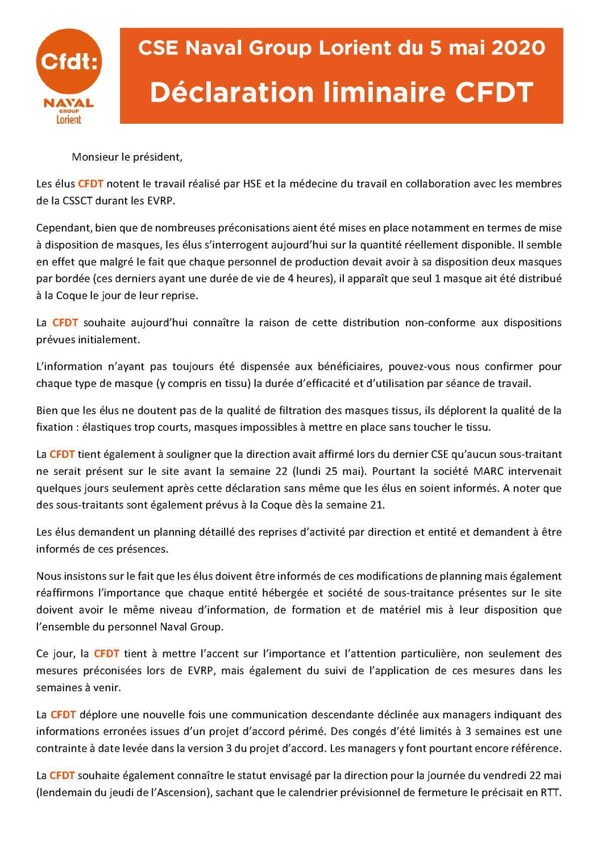 Déclaration CFDT au CSE du 5 mai
