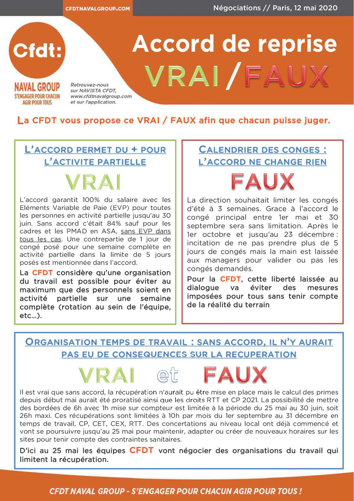 Accord de reprise VRAI / FAUX