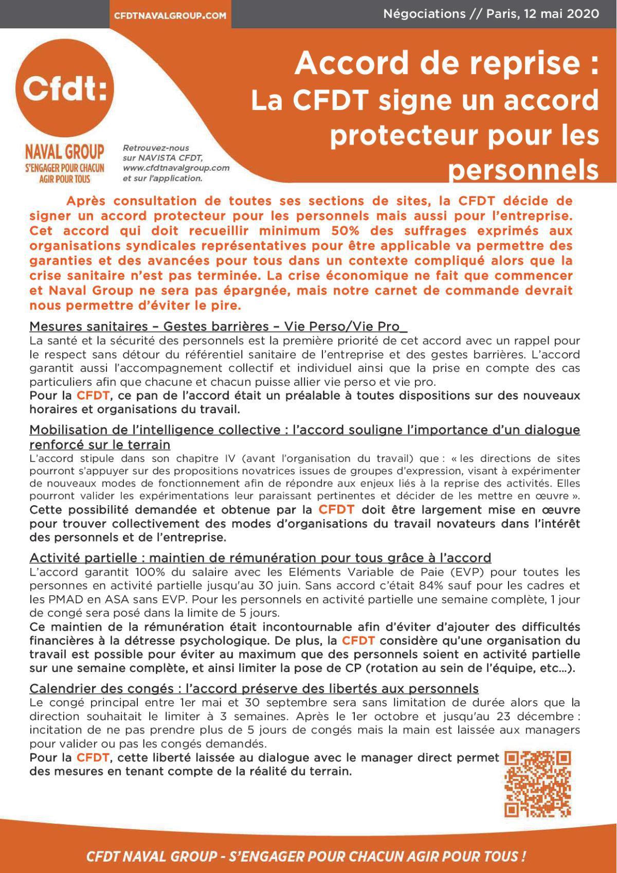 Accord de reprise : La CFDT signe un accord protecteur pour les personnels