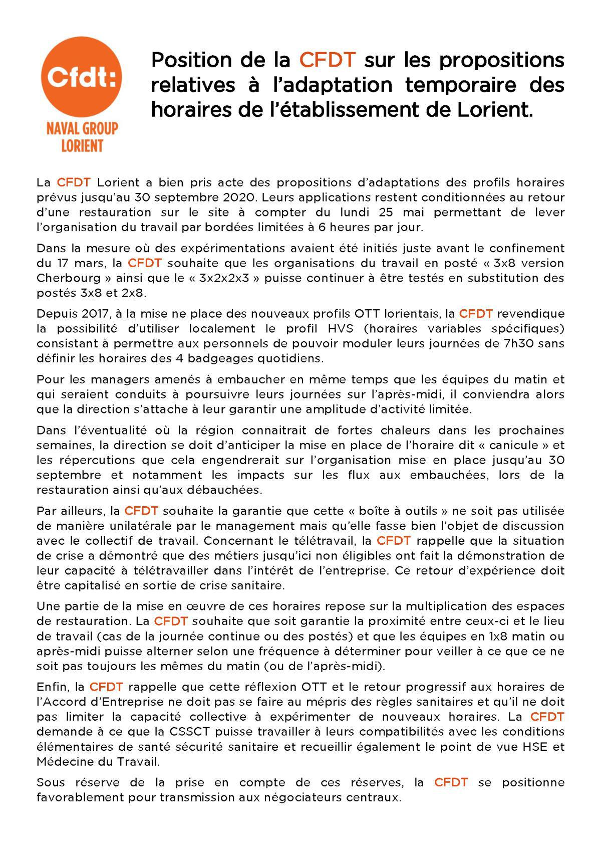 La CFDT favorable à l'adaptation de l'OTT local
