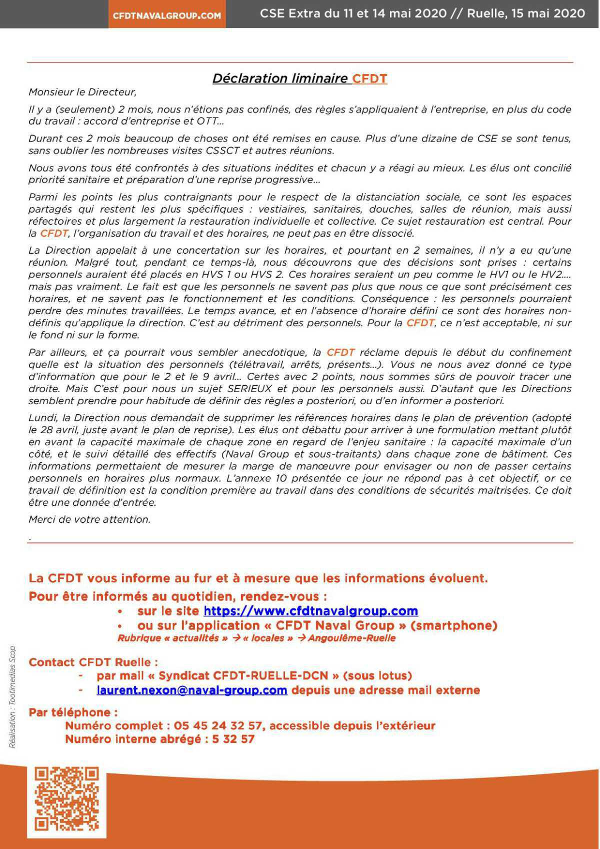 CR CSE extra de Ruelle des 11 et 14 mai 2020
