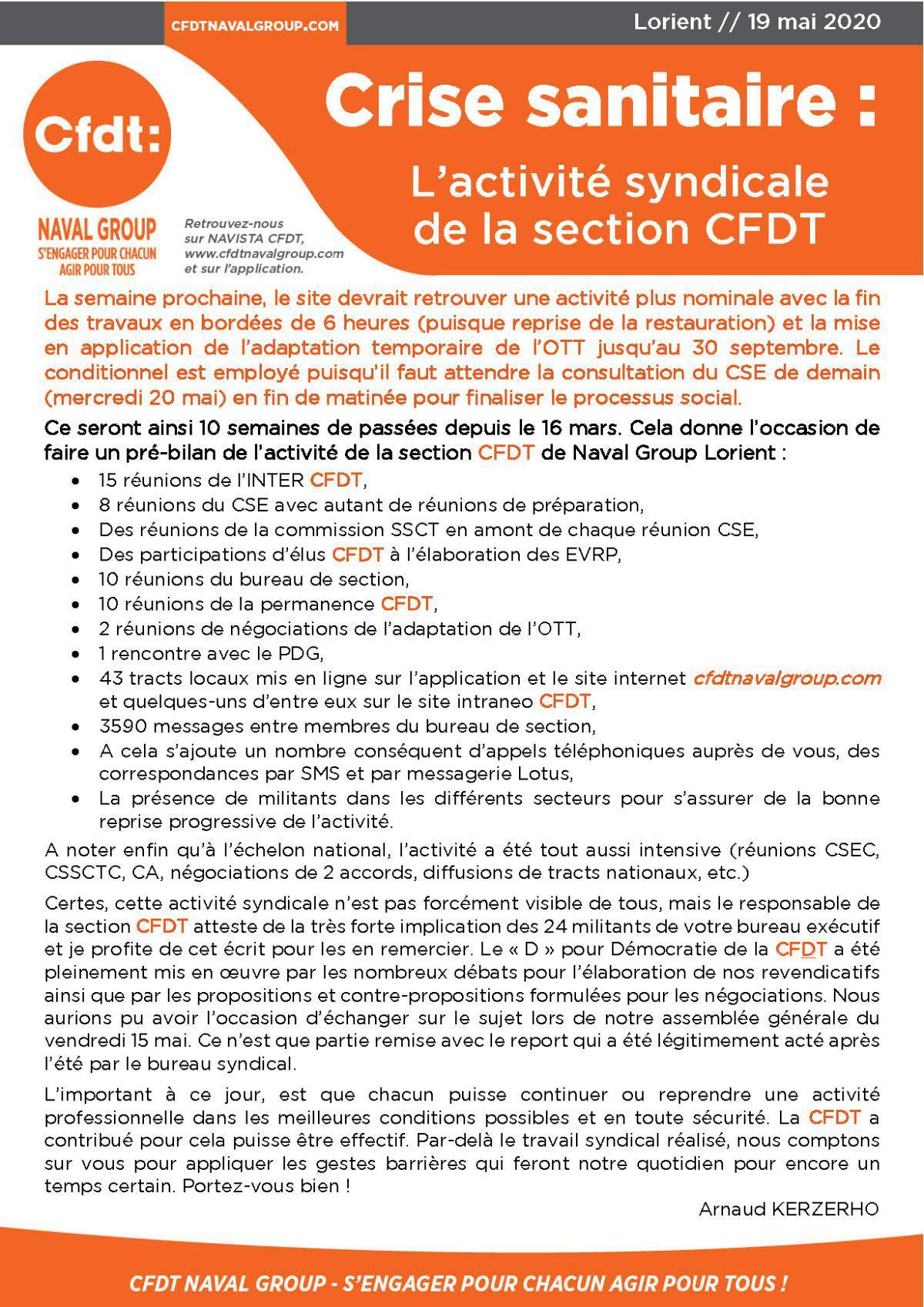 Crise sanitaire : activité de la section CFDT