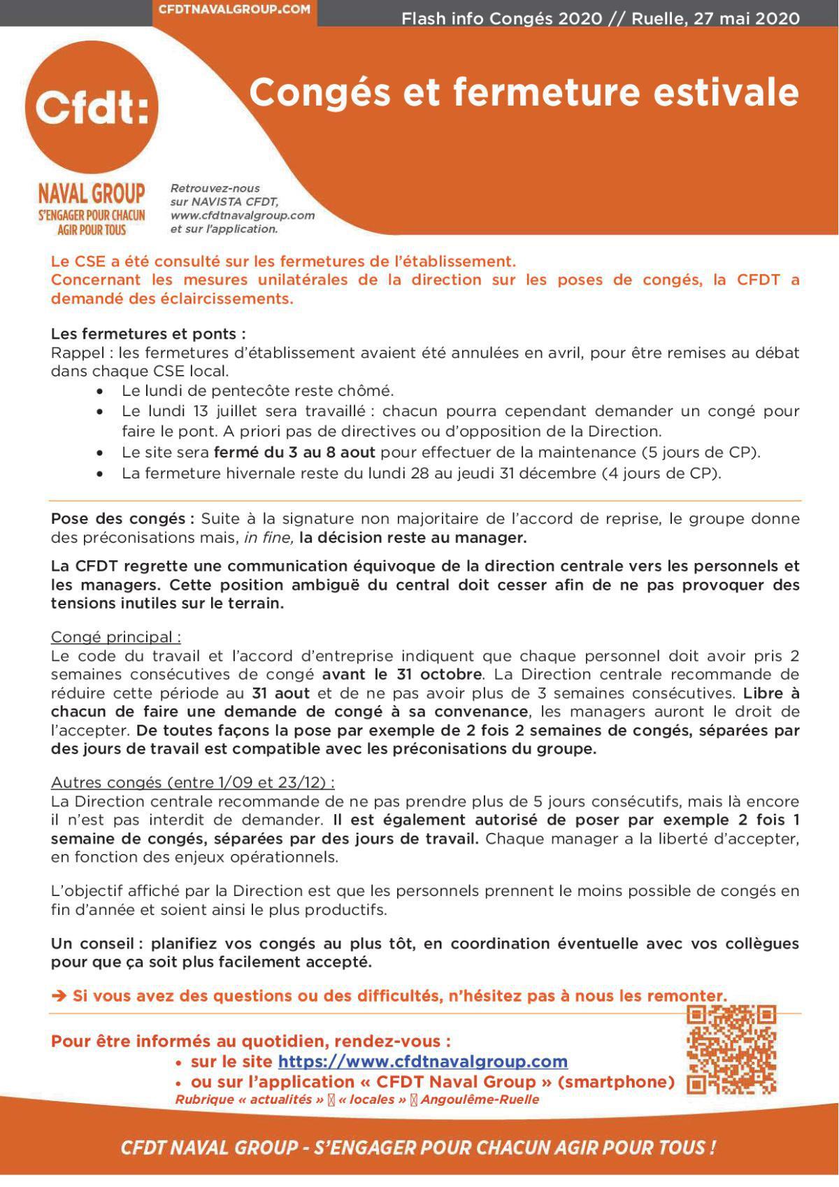 Flash info : congés et fermetures 2020 - site de Ruelle