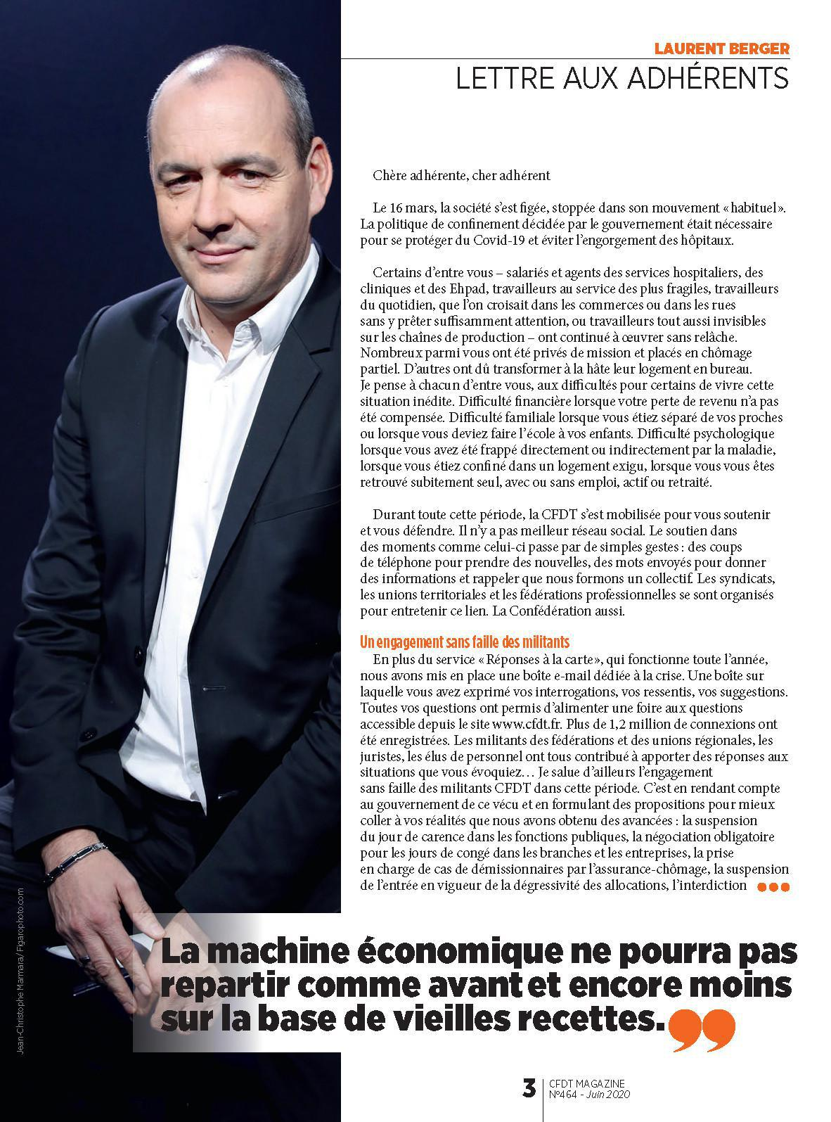 Lettre de Laurent BERGER aux adhérents