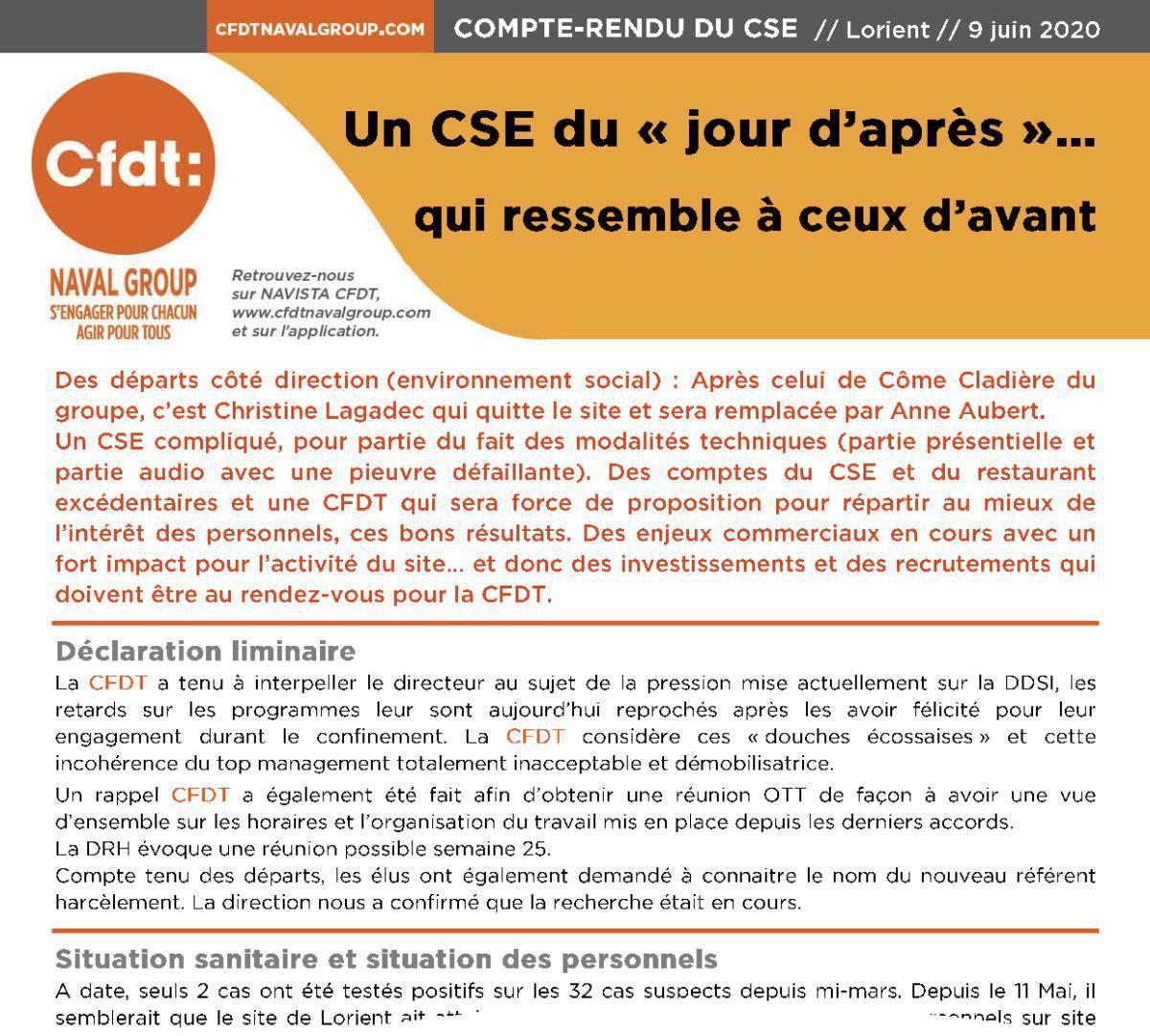 CR CSE du 9 juin