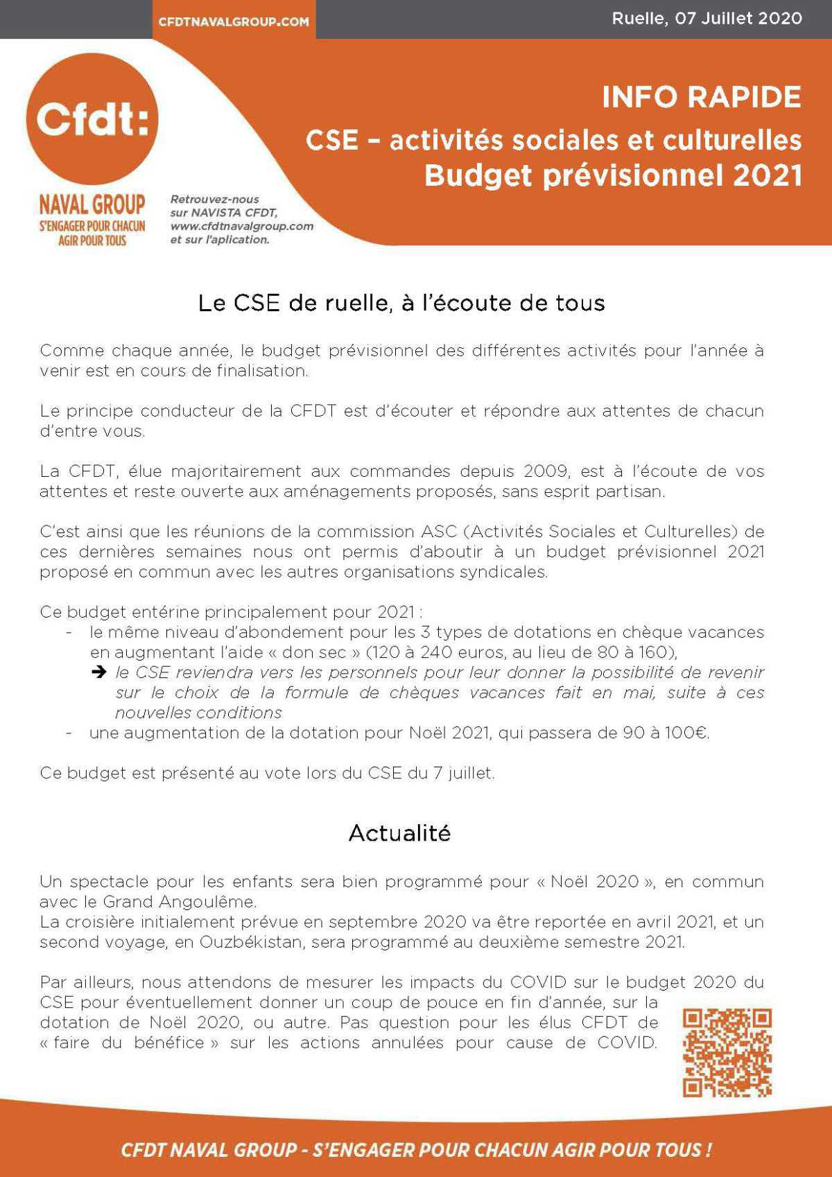 Activités sociales et culturelles - Budget prévisionnel 2021