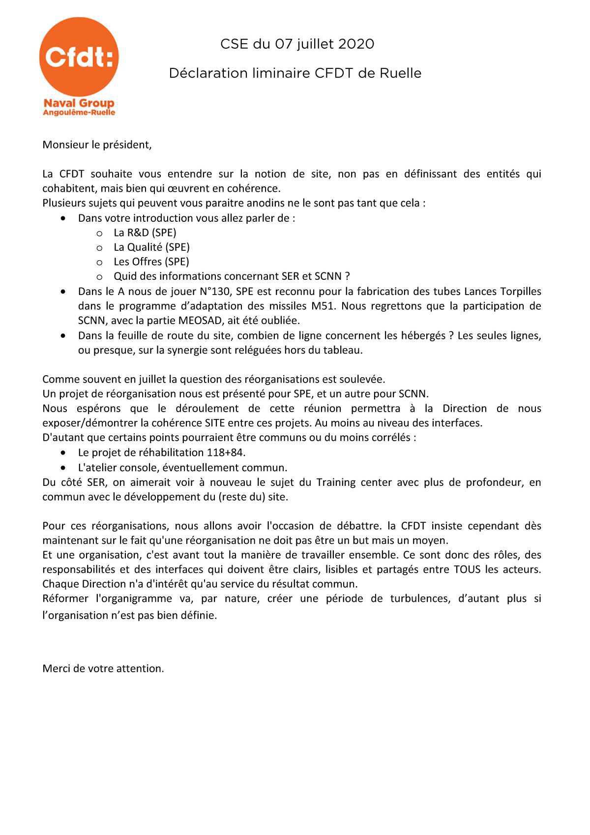Déclaration liminaire CFDT CSE 7 Juillet