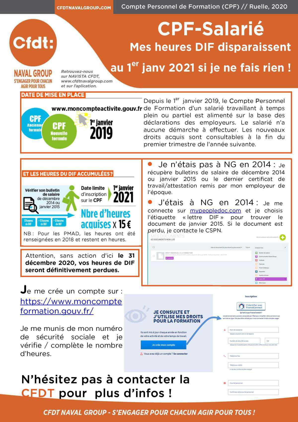 CPF-Salarié : Mes heures DIF disparaissent au 1er janv 2021 si je ne fais rien !