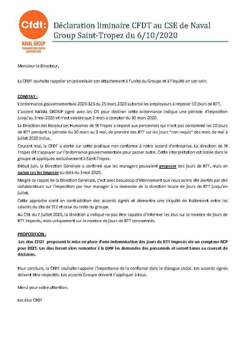 Déclaration liminaire CFDT au CSE de Naval Group Saint-Tropez du 6/10/2020