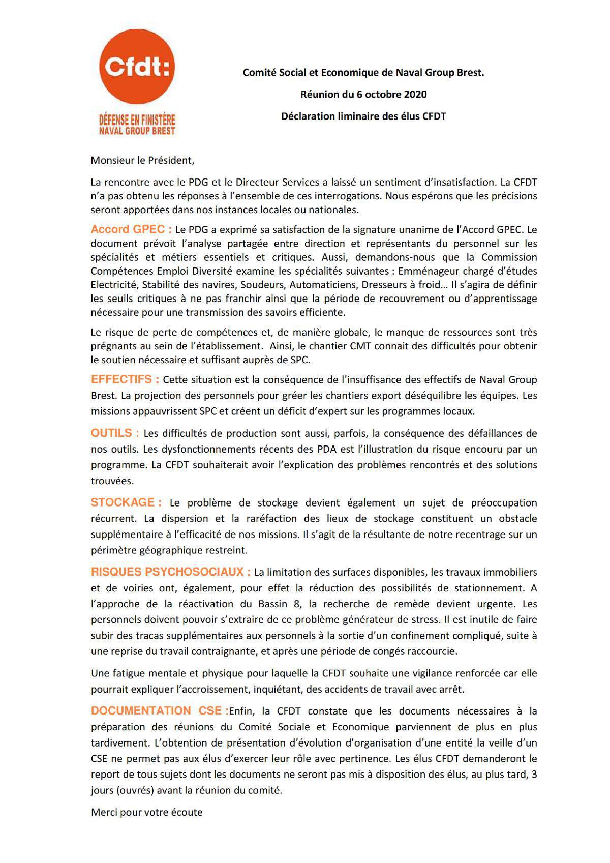 Déclaration Liminaire CSE Brest du 6 octobre 2020