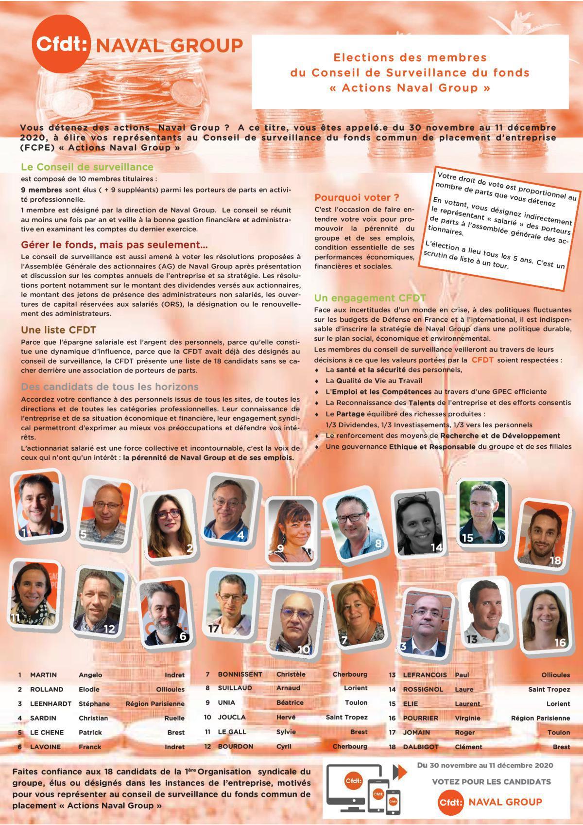 """Candidats CFDT _ conseil de surveillance du fonds """"Actions Naval Group"""""""