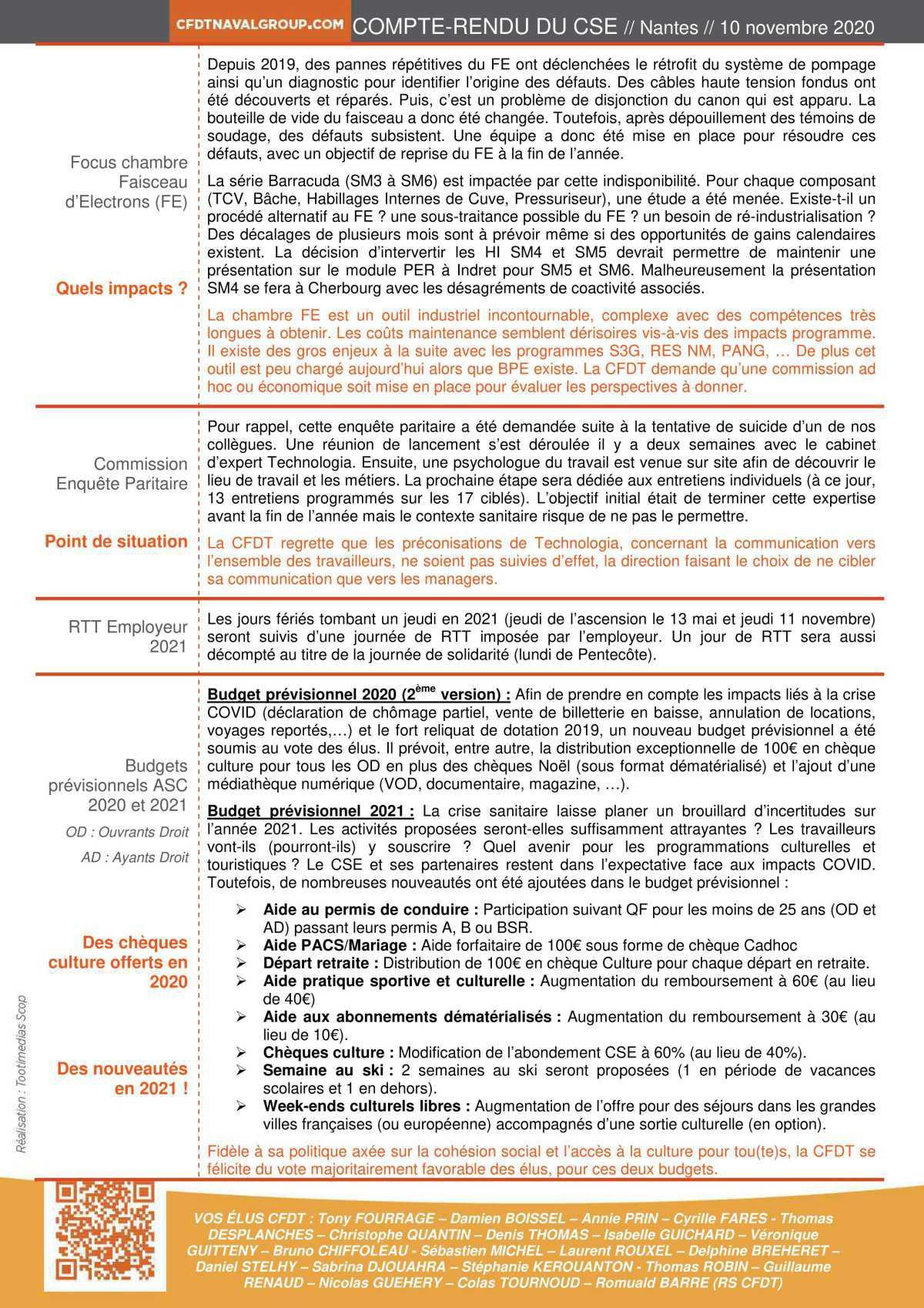 CR du CSE du 10 novembre 2020