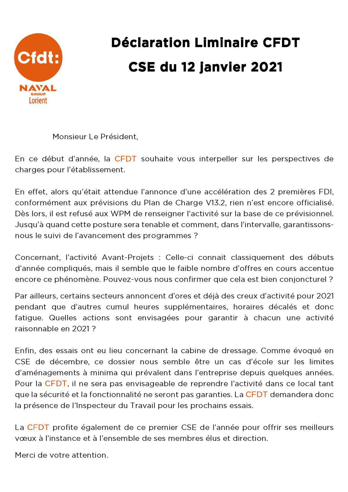 Déclaration CFDT au CSE du 12 janvier