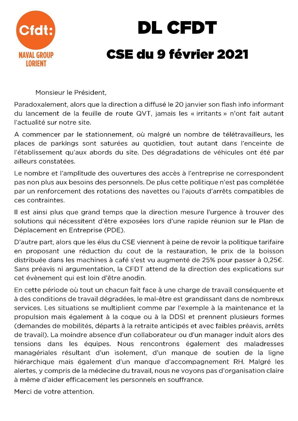 Déclaration CFDT au CSE du 9 février