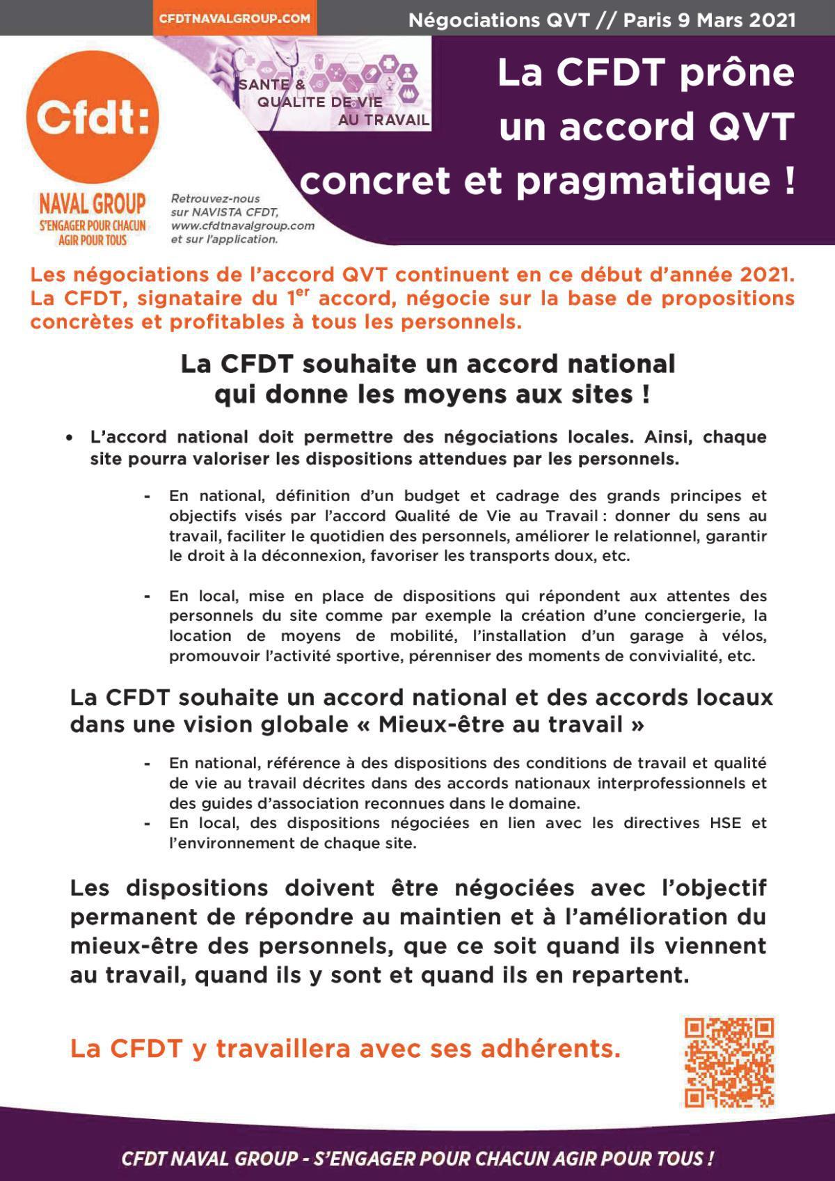La CFDT prône un accord QVT concret et pragmatique