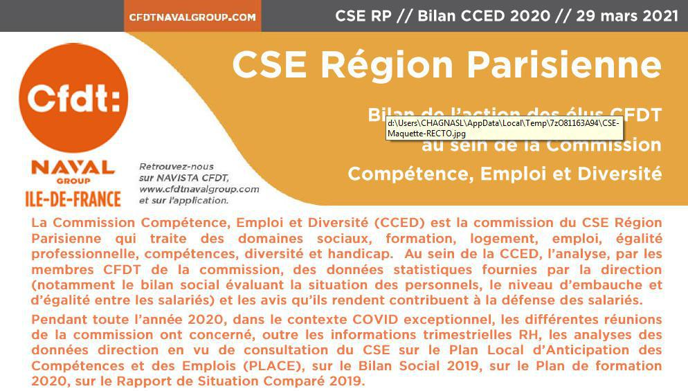 Bilan CFDT 2020 de la CCED Région Parisienne